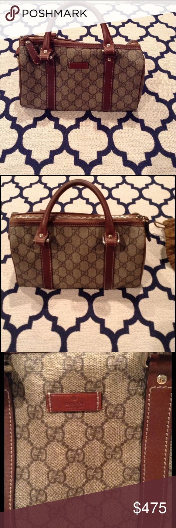 awesome Tendance salopette 2017 - Gucci 'Joy' Boston Bag Beige/ebony GG plus brown leather trim and light ... Check more at https://listspirit.com/tendance-salopette-2017-gucci-joy-boston-bag-beigeebony-gg-plus-brown-leather-trim-and-light/