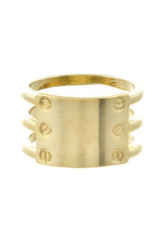 Nailhead Plaque Ring