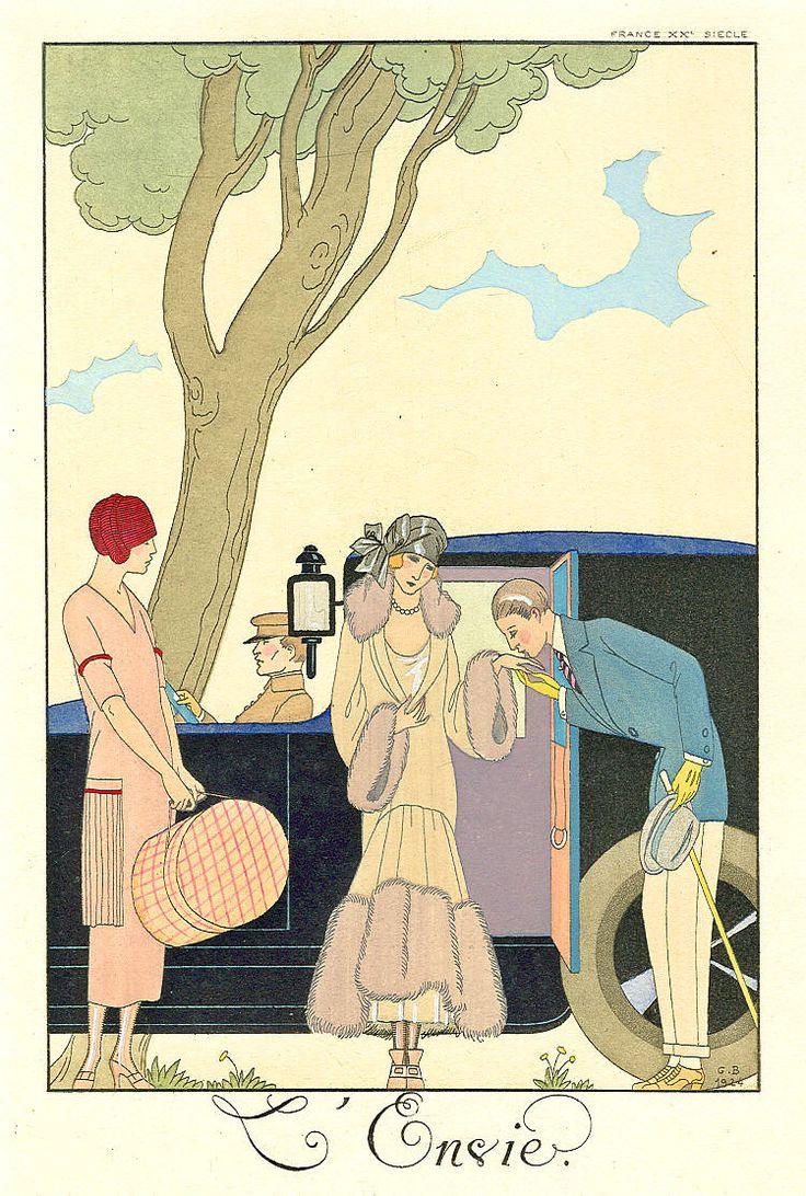 Georges Barbier, Les Sept Péchés capitaux, L'Envie, published in Falbalas et Fanfreluches, Almanach des modes 1925