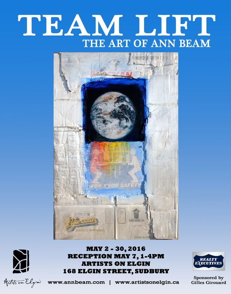 "Poster for Ann Beam's multi-media exhibition 'TEAM LIFT"". May 2016 at The Northern Artist Gallery."