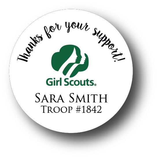 120 Girl Scout Cookies Personalized Sticker - Thanks For Your Support! #Unbranded