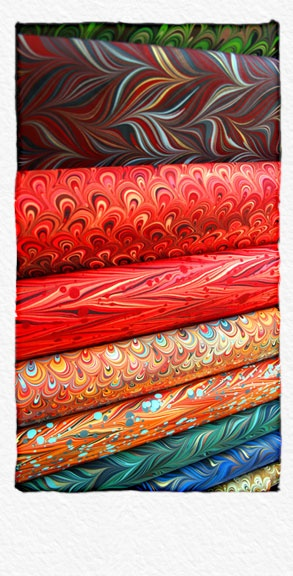 Renato Crepaldi's hand-marbled papers from Brazil