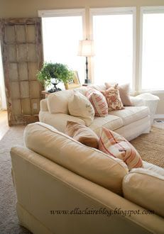 Living Room. Comfy couch with comfy pillows.