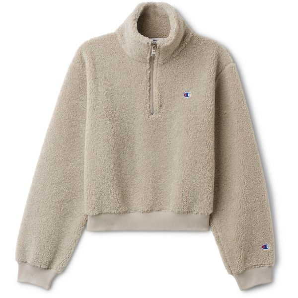Flow Sherpa Turtleneck - Beige - Hoodies & sweatshirts - Weekday ($155) ❤ liked on Polyvore featuring tops, hoodies, sweatshirts, zip sweatshirt, sherpa sweatshirt, sweatshirt hoodies, zip hoodie and zipper hoodies