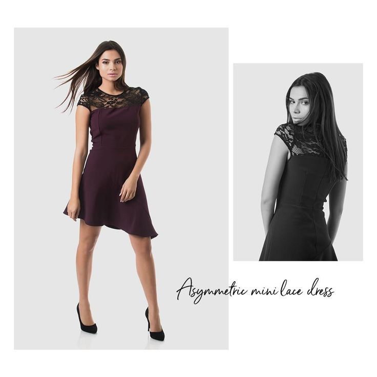 Mini asymmetric dress with black bust and back lace. Frilled lower part. Invisible back zip fastening. A-line dress. 82% Polyester. 12% Viscose. 6% Elastane.