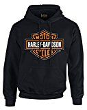 Harley-Davidson Mens Bar & Shield Pullover Fleece Hooded Sweatshirt, Black (2XL) 										 					Product DescriptionHarley-Davidson® Men's Bar & Shield Fleece Pullover Hooded Sweatshirt, 30293965. Front is decked out with a famous Bar & Shield logo screen printed in orange.