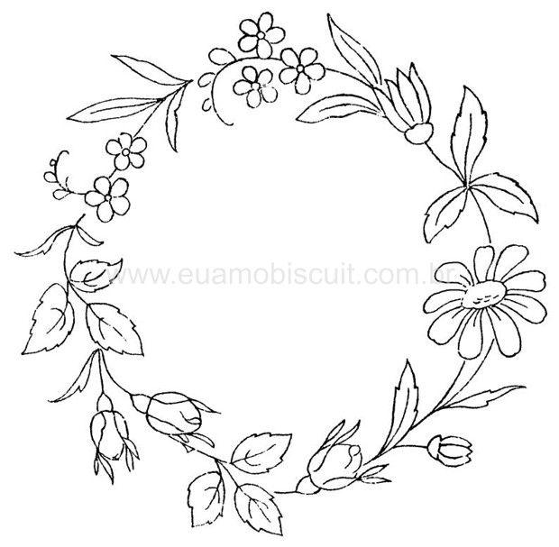 Patrón bordado guirnalda flores hojas