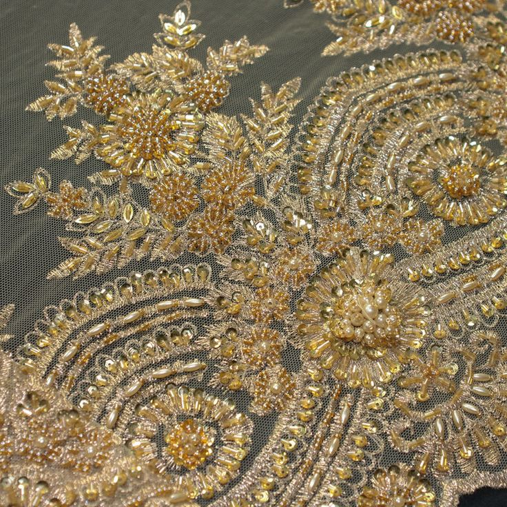 High End Gold Beaded Bridal Lace Fabric By The Yard in ...