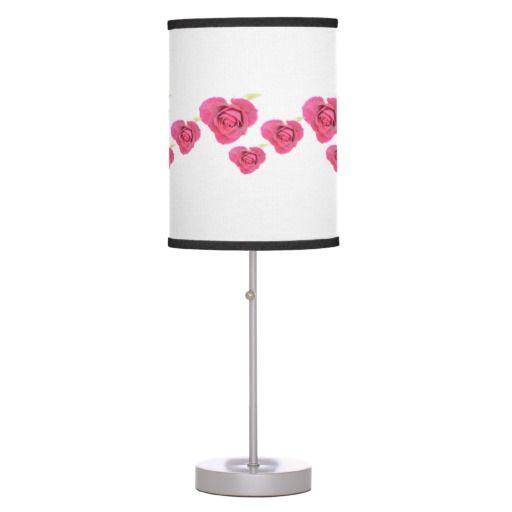 Heart shaped roses Linen Table Lamp