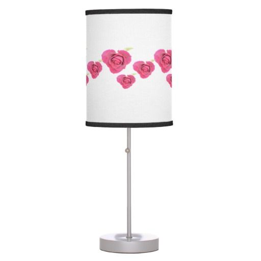 Heart shaped roses Linen Table Lamp