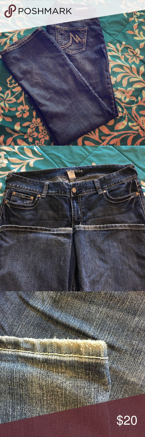 Maurices jeans Size 16 regular slim bootcut jean gently worn. Minor wearing near heel. Run a little slim in hip and thigh. Would fit size 14 Maurices Jeans Boot Cut