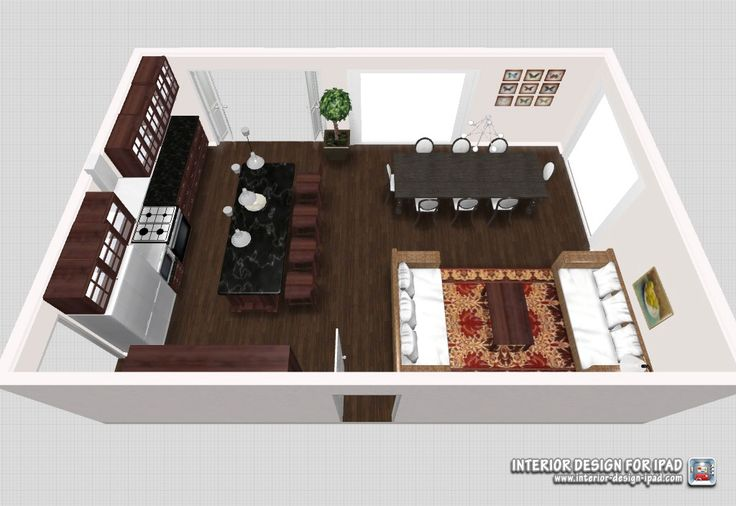 Open plan kitchen, dining & casual living. Room space 9x6m