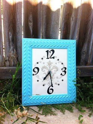 DIY clock- turquoise frame?