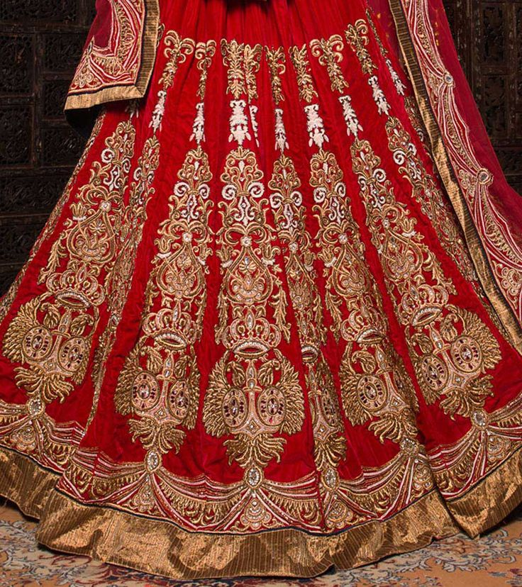 Red Embroidered Velvet Lehenga Set