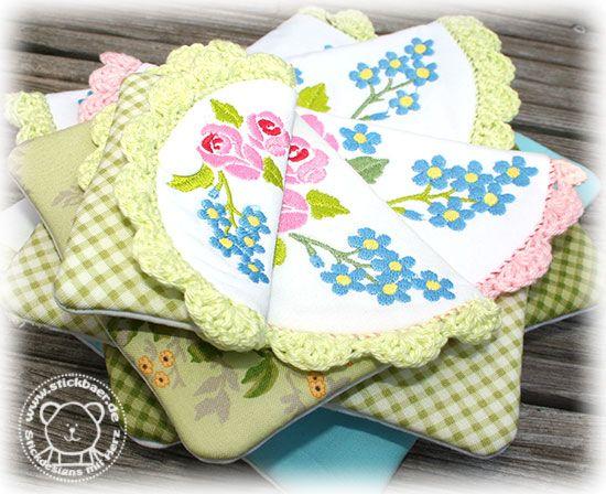 Crochet Bags ITH zauberhaft umhäkelt und mit der Stickmaschine gestickt