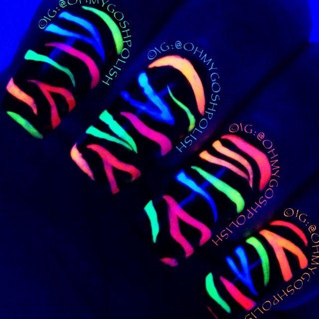 neon zebra prints @OhMyGoshPolish