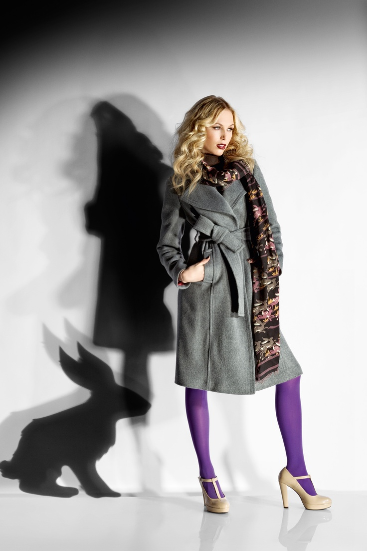 "Long coat with belt waist. Interior printed with pattern by Magazzini del Sale.Scarf ""love animals"" with hares"