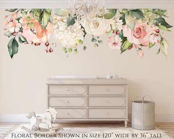 Emma Rose Garden Pink White Watercolor Flowers Wall Decals