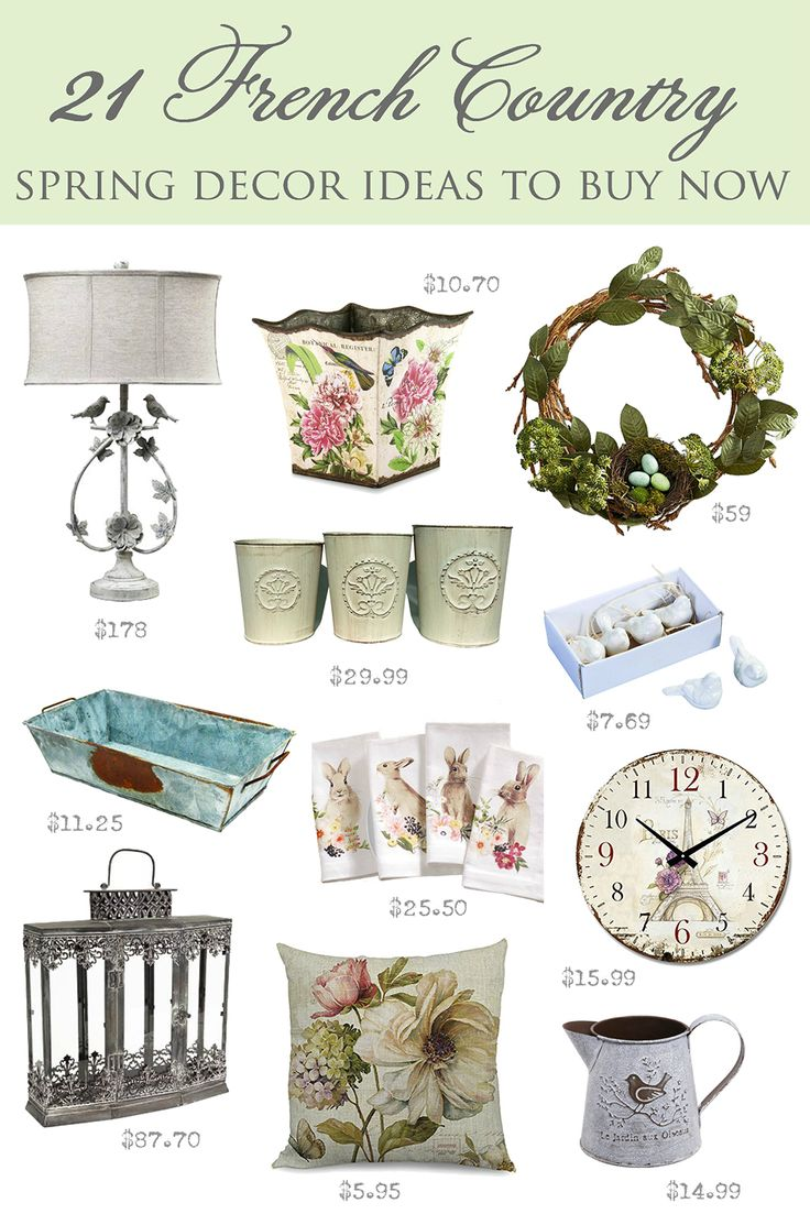 Looking for ideas for spring that will align with your taste level?  Here are 21 French Country SPRING DECOR ideas you can buy right now | #giftguide #hostessgifts #frenchcountry