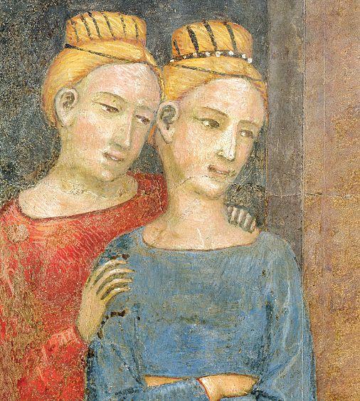 Ambrogio Lorenzetti - Corteo nuziale, particolare (Gli Effetti del Buono Governo in città) - affresco - 1338-1339 - Siena - Palazzo Pubblico, Sala dei Nove o Sala della Pace