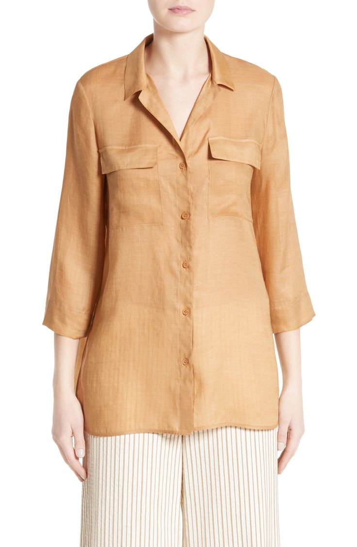 New Lafayette 148 New York Fran Ramie Blend Blouse BROWN MULTI fashion online. [$89.4] new offer from Newtstyle Shop<<