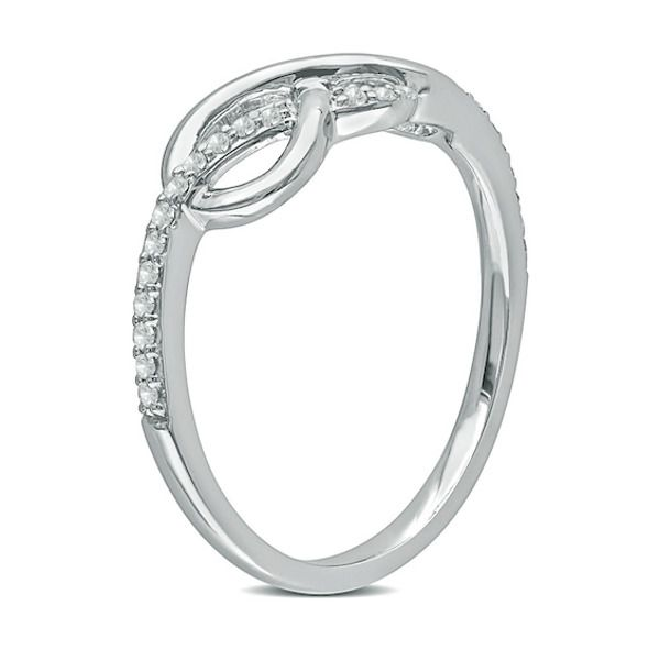 1 8 Ct T W Diamond Infinity Ring In 10k White Gold In 2020 White Gold Rings White Gold Fashion Rings