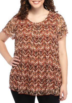 Kim Rogers Women's Plus Size Chevron Print Top - Pueblo Rust Multi - 2X