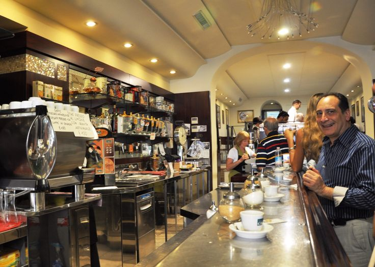 """TRAVEL TIP: When In Italy, If you go to a Cafe, be sure to stand at the Cafe 'bar' like the Italians do. Sitting can double or triple the charge of your coffee. If you do decide to sit, be sure to walk around first to see the menu. Some cafes may list two columns of prices: """"Banco"""" which means price if you are standing and """"Tavolo"""" means price if you are sitting. Always double check your bill by asking for an Itemized bill, in Italian you would ask """"il conto dettagliato"""" or """"il conto lungo."""""""