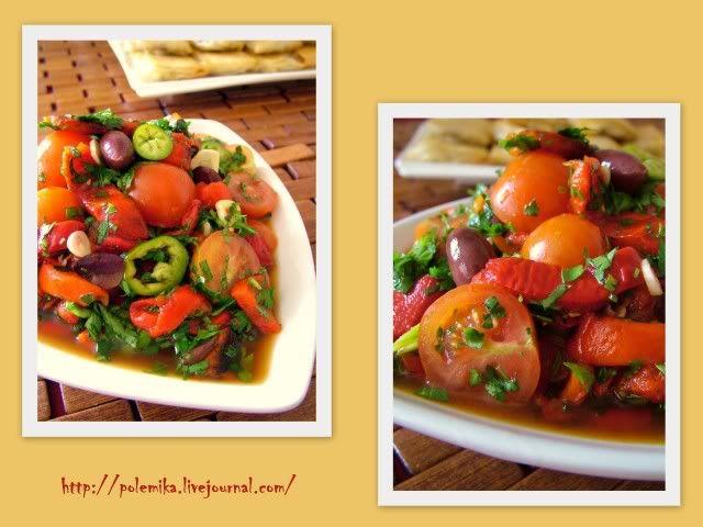 Острая сальса из запеченных перцев с помидорками-черри