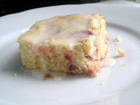 Strawberry Lemon Cake Bars with Lemon Glaze from Edesia's Notebook