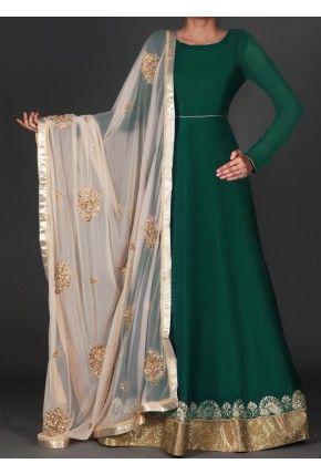 Emerald Green and Golden Beige Embroidered Anarkali