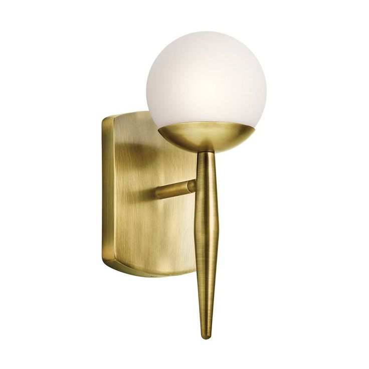 Incorporate mid century style with kichlers jasper brass wall sconce click to shop this