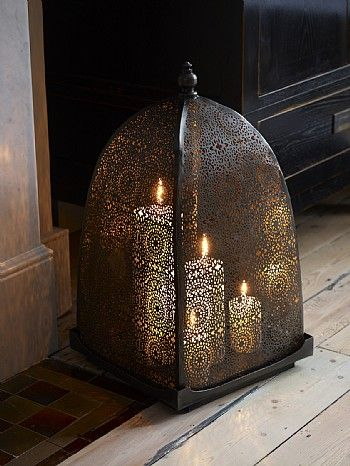 Iron Windlight with Moorish Frette Work Detailing by Lombok