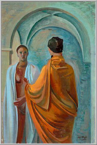 Mario Tozzi 1943: Confidenze. Olio su Tela cm.62x40 - Collezione Privata Svizzera - Archivio numero 772 - Catalogo Generale Dipinti numero 43/7.