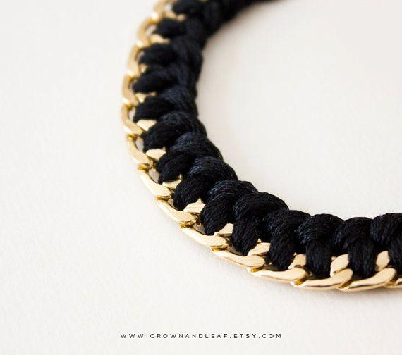 Black / Braided Chain Bracelet / Curb Chain / por crownandleaf