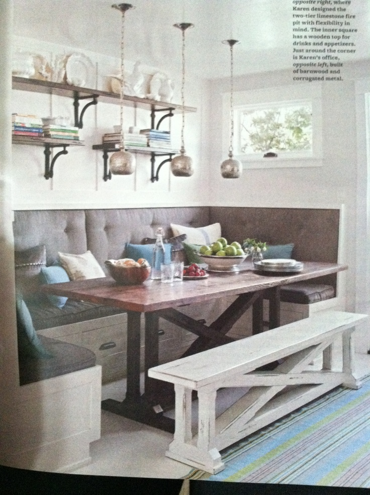 Gray Upholstered Banquette And A Trestle Table Kitchen
