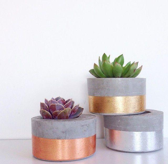 SHORTY ROUND - METALLICS concrete plant and succulent pot