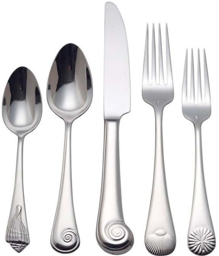 5-Piece Contemporary Sea Shells Pattern Flatware Place Setting Stainless Steel #flatware
