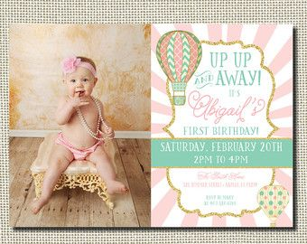 Up Up and Away Birthday Invitation Hot Air by PartyInvitesAndMore