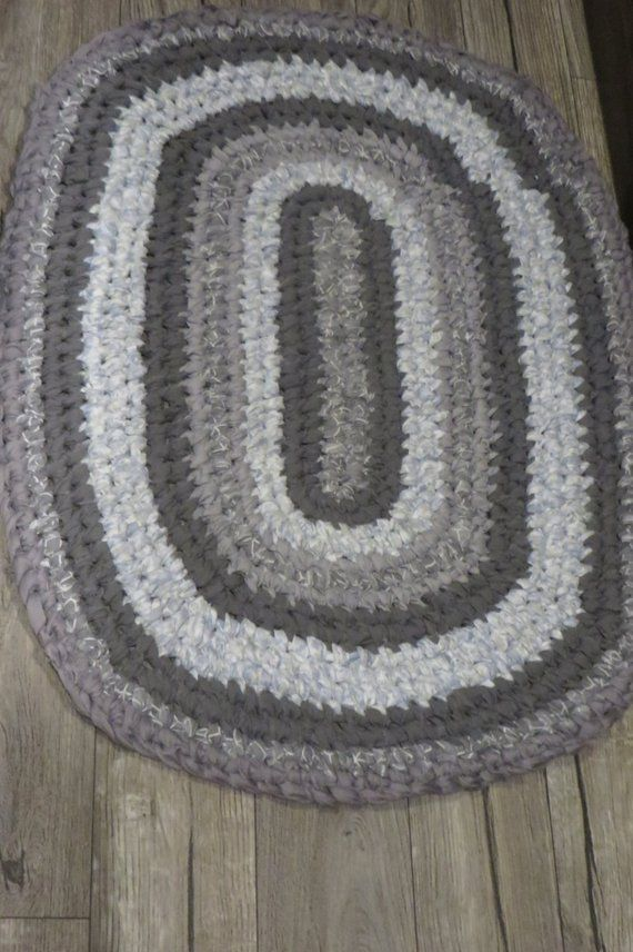 Gray Handmade Oval Rag Rug Toothbrush Knotted And Machine Wash Dry Kitchen Sink Rug Bathroom Rug Door Mat To Rag Rug Rug Makeover Machine Washable Rugs