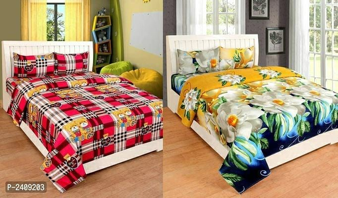 Buy 1 Poly Cotton Double Bedsheet Get 1 Free Fabric Polycotton