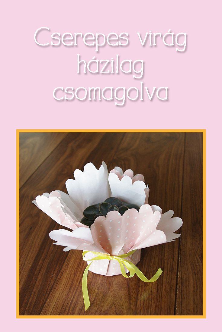 Ahogy virágcsokrot, úgy cserepes virágot is be lehet csomagolni otthon, házilag. Ajándékozz virágot stílusosan!