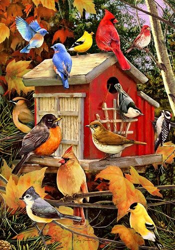Custom Decor Flag - Fall Songbirds Decorative Flag at Garden House Flags at GardenHouseFlags