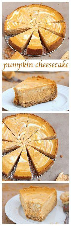 Two fall favorite desserts – pumpkin pie meets velvety cheesecake in this scrumptious marble pumpkin cheesecake.