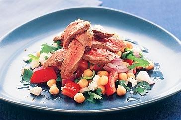 Warm lamb, chickpea and feta salad