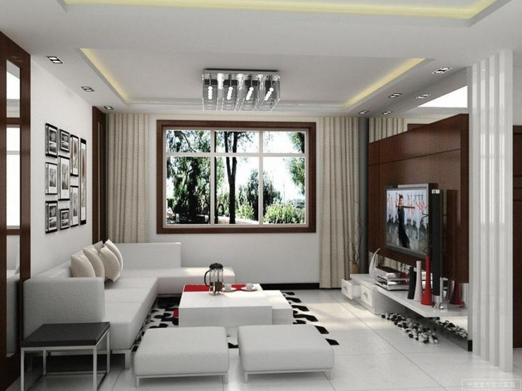 Idea Living Room Design Interior Part - 32: [Living Room] : Contemporary Living Room Design Ideas With Neutral Shades  With White Couch Also Cushion Also White Table And White Pouffe Also Flat  Screen ...