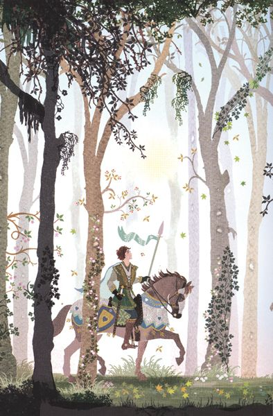 Sarah Gibb illustration of a  knight on his horse in a beautiful forest