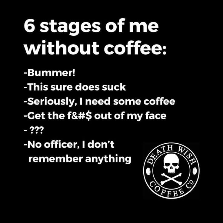 Stages of me without coffee