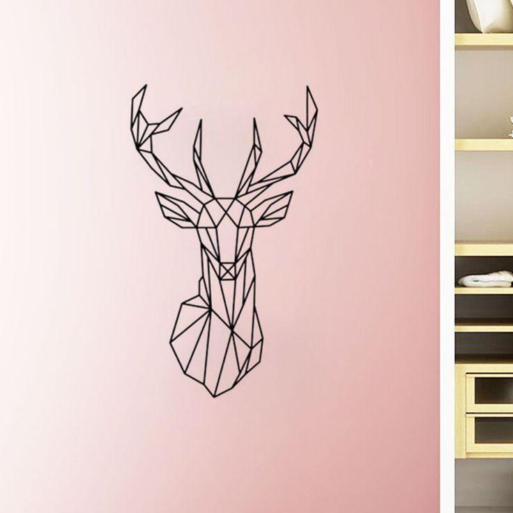 25 best ideas about geometric deer on pinterest deer for Deer mural decal