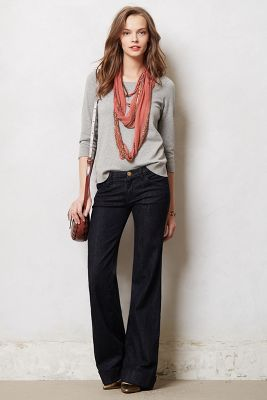 Current/Elliott Wide-Leg Jeans- I like the whole outfit.